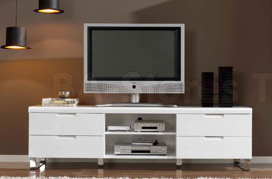 top  modern tv stands for your living room  cute furniture - white tv stand with chromed legs