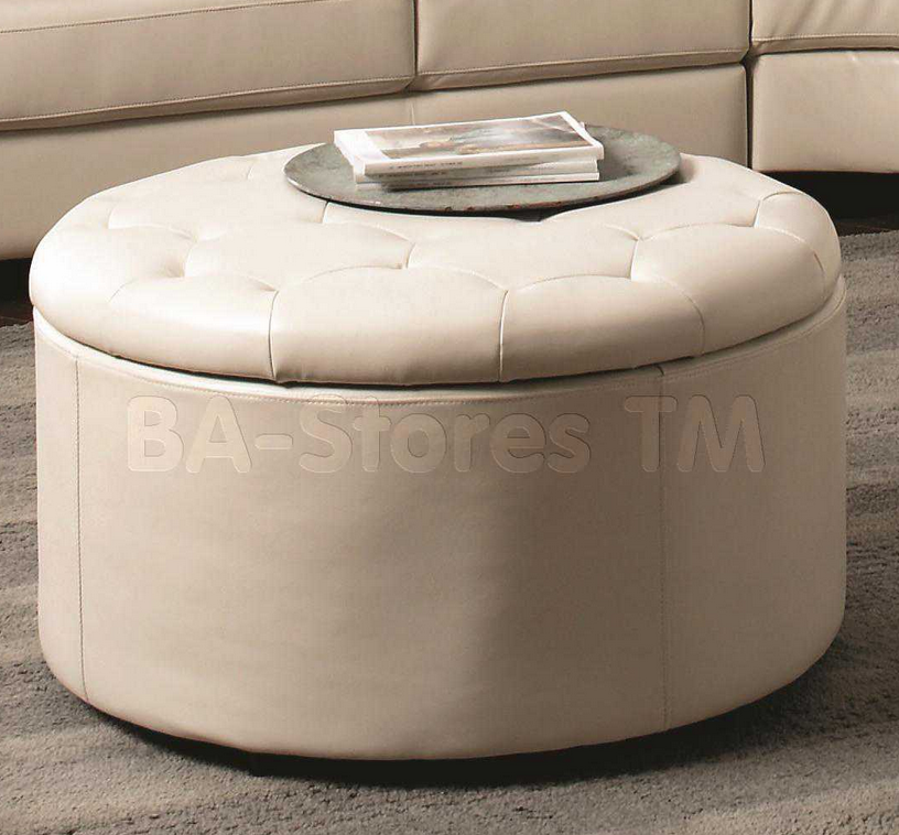 Contemporary White Leather Ottoman