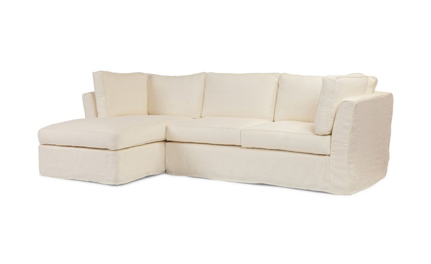 White Left Facing Sectional Sofa
