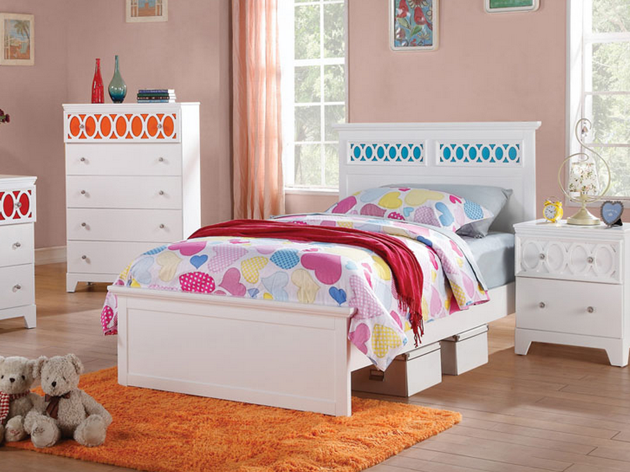 Cute White and Blue Bed For Girls