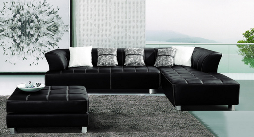 Leather Sectional With Chaise and Ottoman
