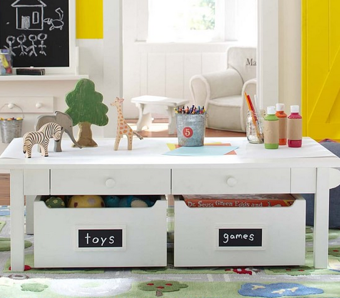 White Craft Table For Kids