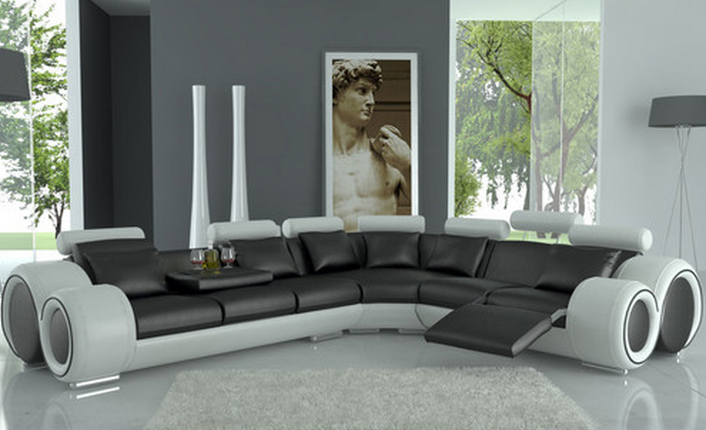 Modern Italian Design Dark Sectional Sofa