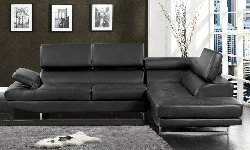 Black Leather Modern Sectional