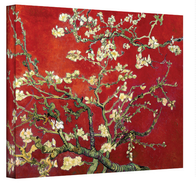 Art Wall Interpretation in Red Blossoming Almond Tree by Vincent Van Gogh