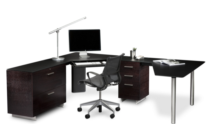 L-shape office desk black
