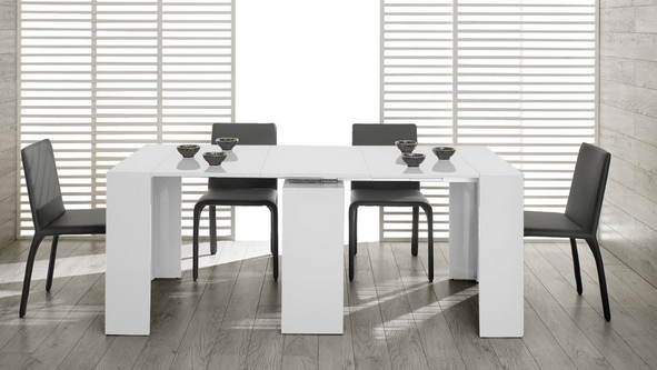 White Modern Extendable Dining Table