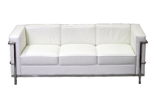 Charles Petite Leather Sofa in White class=