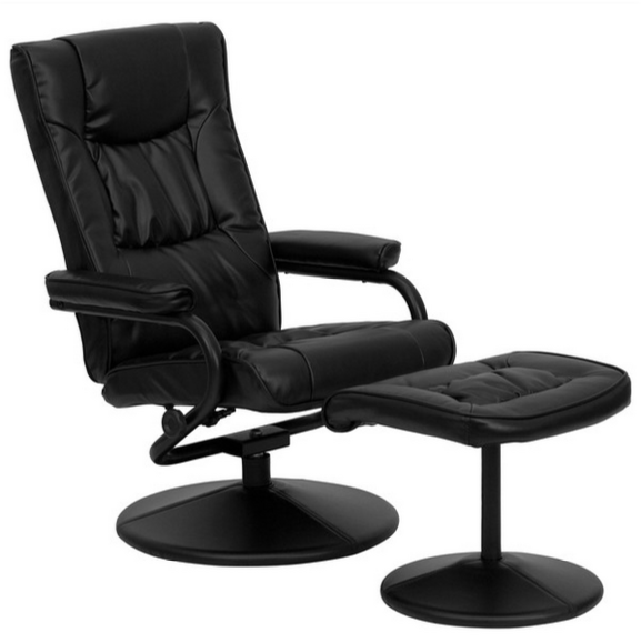 soft leather reclining office chair ottoman set by flash furniture