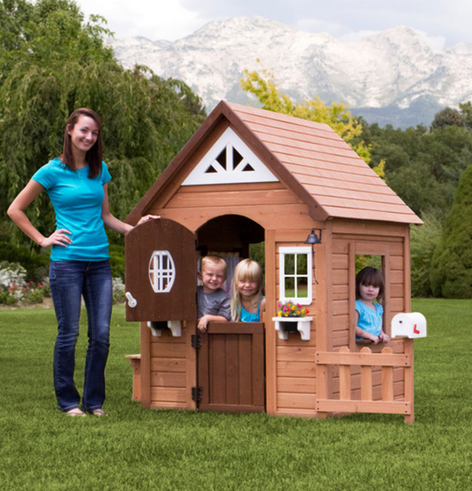 Backyard Discovery Brown Playhouse for a Kid class=
