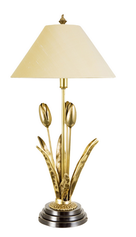 Stylish Floral White and Gold Desk Lamp