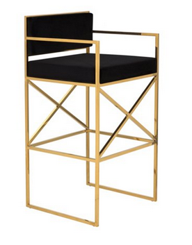 Walsh Modern Bar Stool in Black and Gold