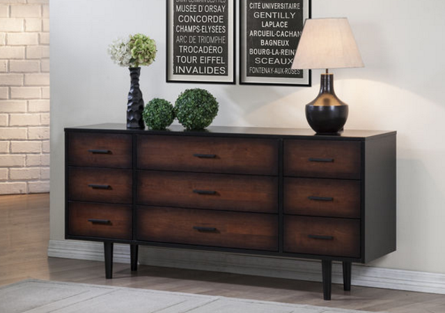 Preston 9-drawer Cherry_ Black Mid-century Style Dresser