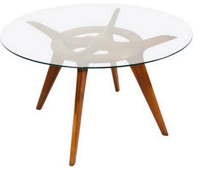 Mid Century Modern Glass Round Dining Table