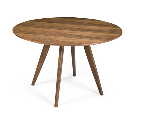 Mid-Century Modern Wooden Round Dining Table