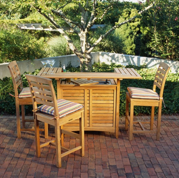 demi lune teak outdoor patio bar