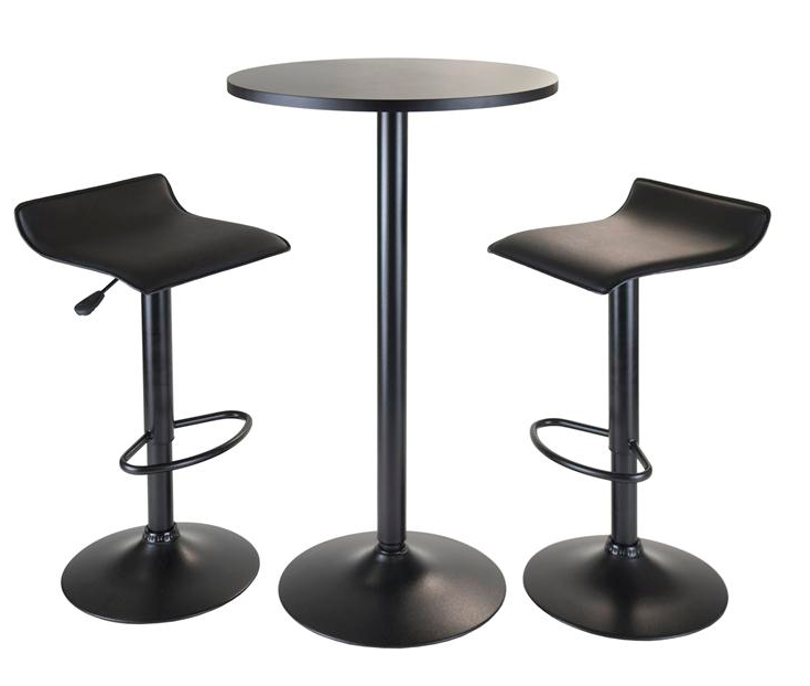 Round Black Modern Pub Table Set