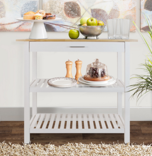 Casual White Kitchen Cart