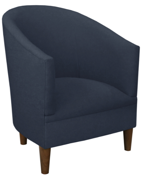 Ashlee Barrel Chair, Navy Linen