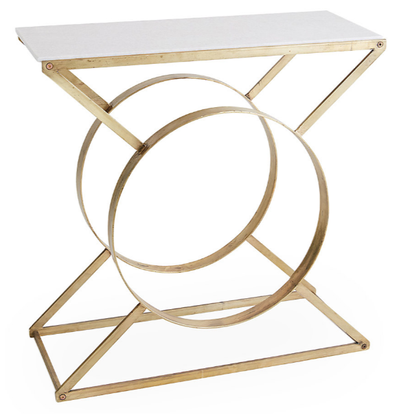 Ashley Marble-Top Console, Gold