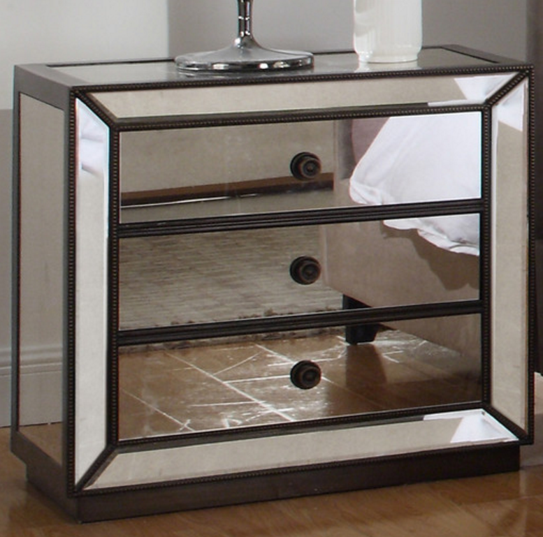 One Drawer Mirrored Nightstand