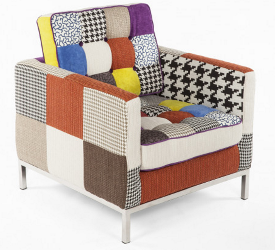Mid Century Tufted Lounge Chair U2013 Patchwork Fabric A