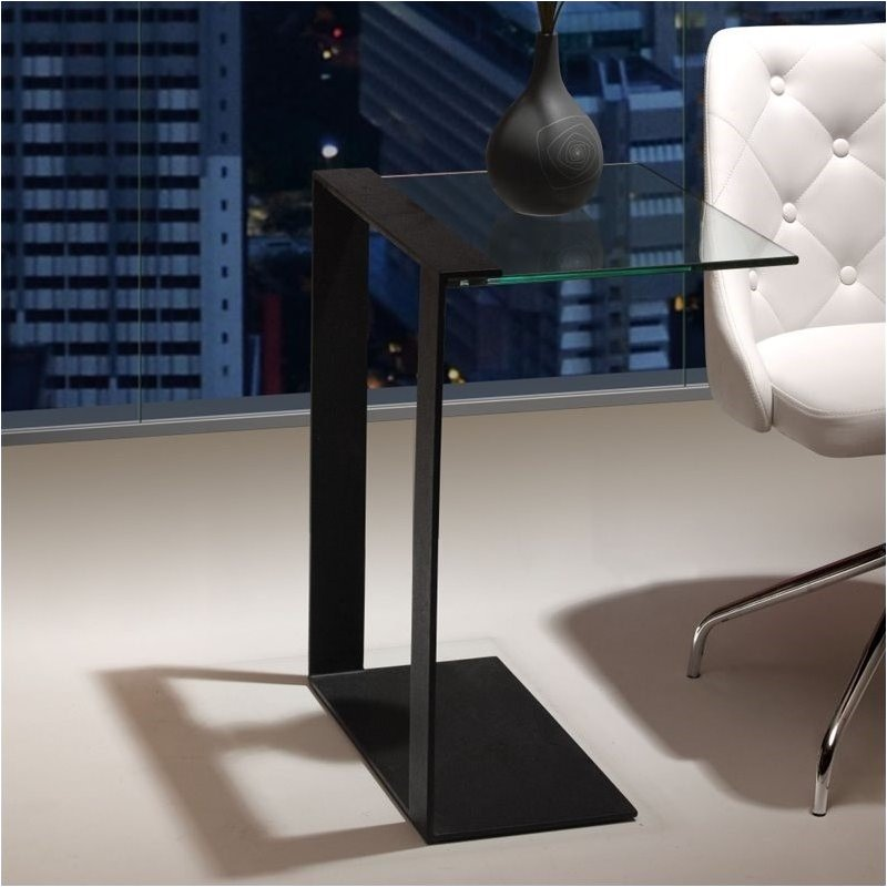 Black Glass C End Table