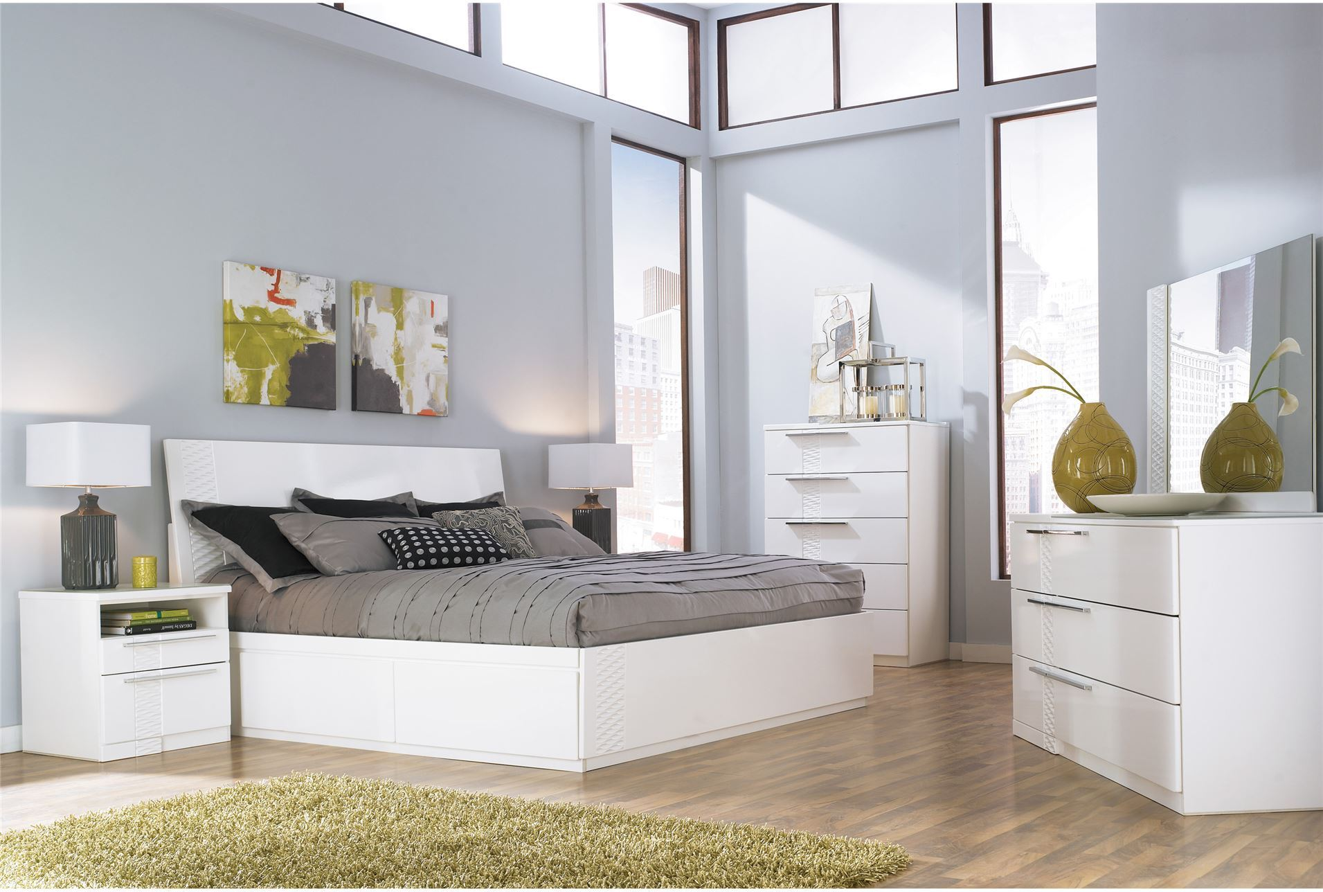Jansey Queen Platform Bed White