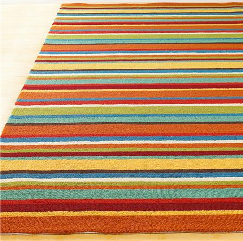 Indoor Outdoor Colorful Stripe Hooked Rug