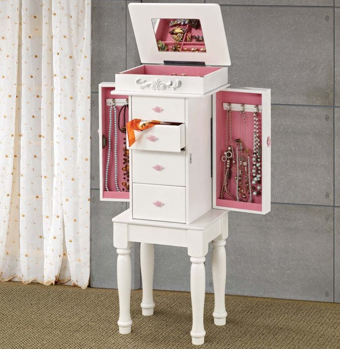 Cute Pink and White Jewelry Armoire