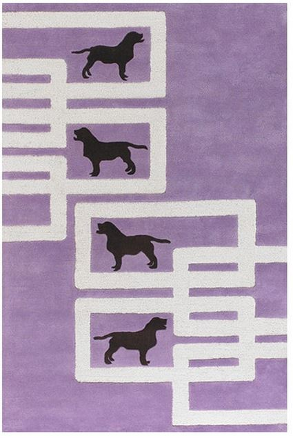 Avalisa Dog Purple/White Novelty Rug