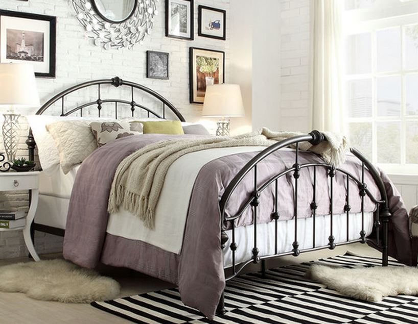 Inspire Q Lacey Round Curved Double Top Arches Victorian Iron Metal Bed