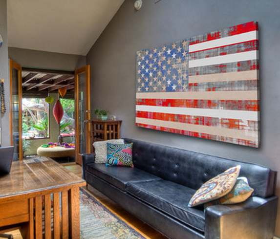 American Flag Print On Canvas