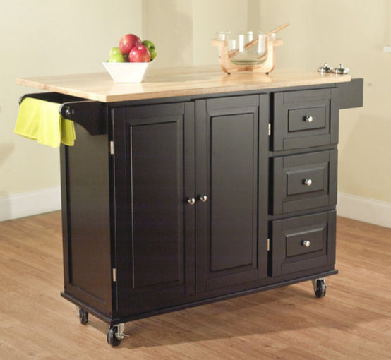 Leo Kitchen Island Black With Wooden Top