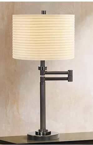 Beige Shade Swing Arm Desk Lamp