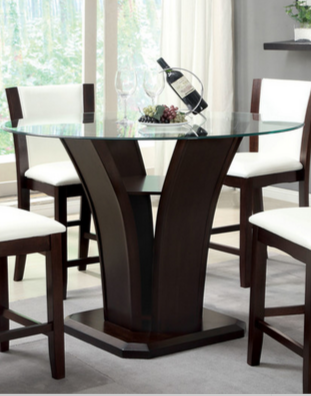 Modern Dark Round Glass Top Dining Table