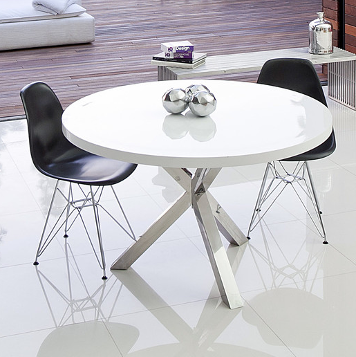 Šangea Collin Modern White Round Dining Table
