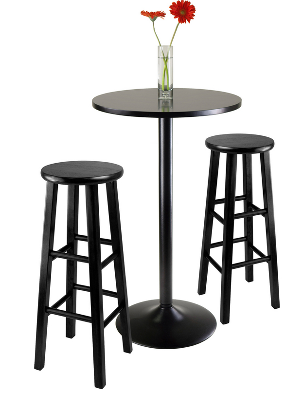Black Round Pub Table Set