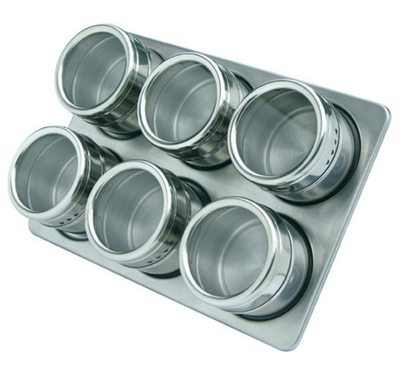 mastrad-7-piece-magnetic-stainless-steel-spice-jar-set