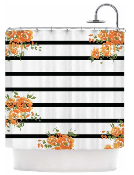 orange-floral-stripes_-black-floral-shower-curtain