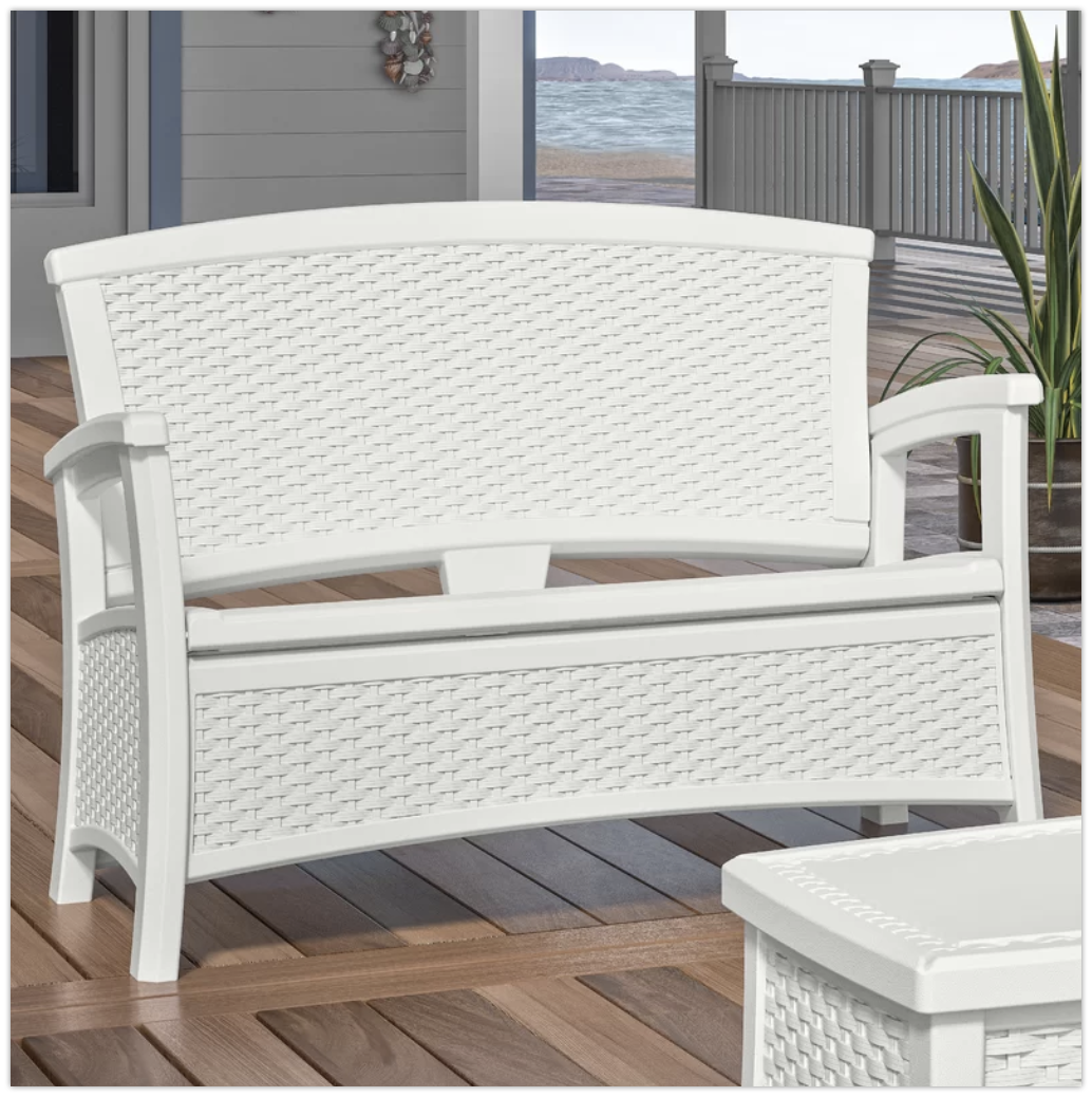 White Wicker Storage Outdoor Bench