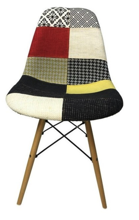 DSW Eiffel Dining Chair, Patchwork F Fabric, Natural Wood Legs